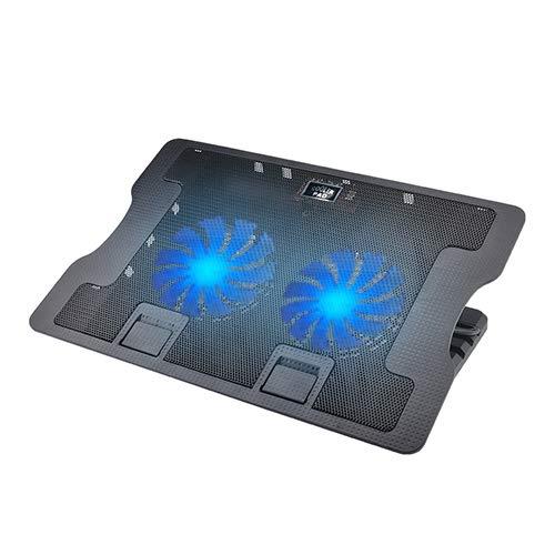 Laptop Cooling Pad, Proslife Portable Utral Slim Laptop Fan Cooler Pad with 2 Quite Fans, LED Lights, Dual USB, Shield Holders (Black-2 Fans)