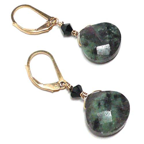 Ruby Briolette Earrings - Ruby in Zoisite Briolette Lever Back Earrings Swarovski Crystal Gold-Filled