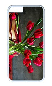 Tulip bouquet still life vase book PC White Hard Case for Apple iPhone 6(4.7 inch)