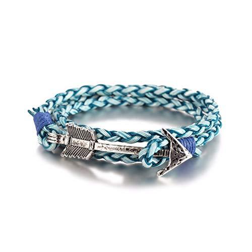 Cyan mango 2019 Multilayer Charm Leather Vintage Bronze Arrow Bracelet Anchor Bracelet for Men Women Lovers' Gift