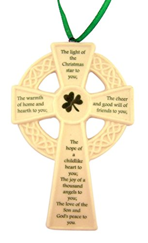White Porcelain Celtic Cross with Irish Prayer Hanging Ornament, 5 Inch