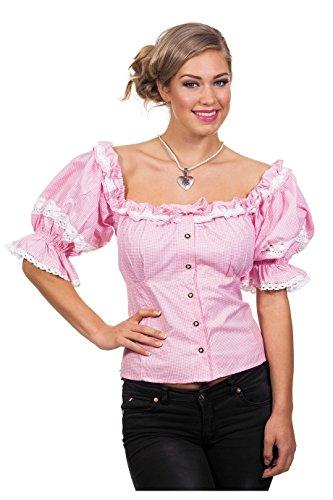 Trachten Damen Bluse Dirndl rosa-weiß Karneval Oktoberfest Gr.48