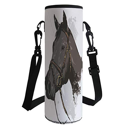 iPrint Water Bottle Sleeve Neoprene Bottle Cover,Equestrian,Wild Horse Portrait with Grunge Paintbrush Effects Graphic Art Design,Charcoal Grey Black,Fit for Most of Water Bottles by iPrint