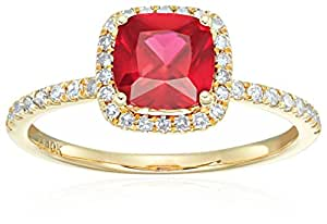 10k Yellow Gold Created Ruby and Diamond Cushion Halo Engagement Ring (1/4cttw, H-I Color, I1-I2 Clarity), Size 7