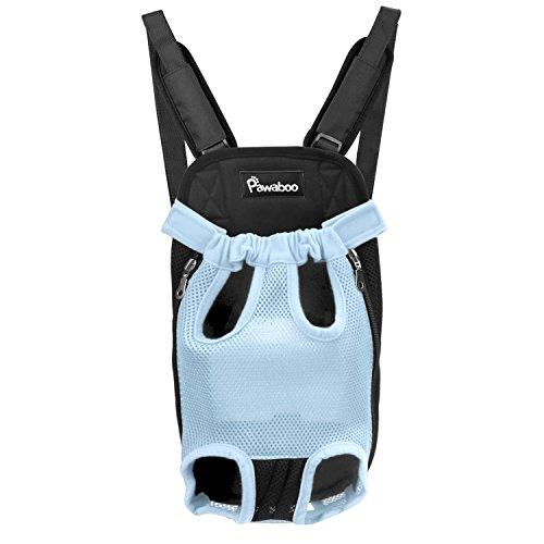 PAWABOO Pet Carrier Backpack, Adjustable Pet Front Cat Dog Carrier Backpack Travel Bag, Legs Out, Easy-Fit for Traveling Hiking Camping for Small Medium Dogs, Large Size, Blue
