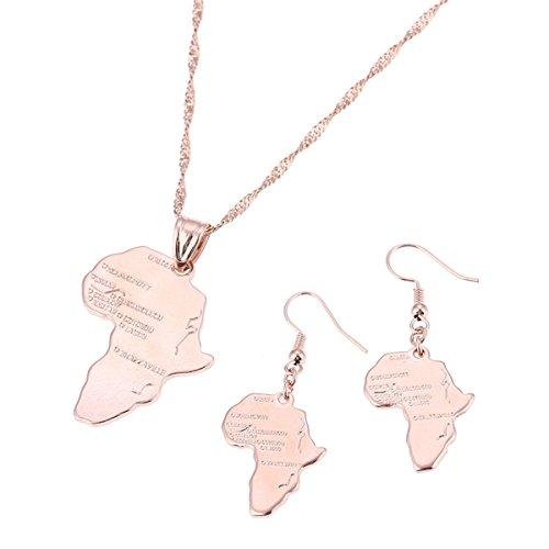 Big Size Crystal Africa Map Pendant Necklace Women Girl 24K Gold Plated African Map Hiphop Item (Rose Jewelry Set)