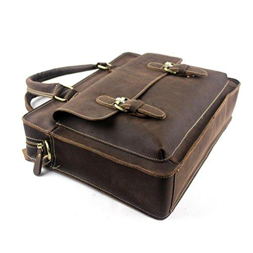 GTUKO Schultertasche Männer Echtes Leder Taschen Haspe Messenger Umhängetaschen Männer Aktentasche Laptoptasche Handtasche , Kaffee Kaffee