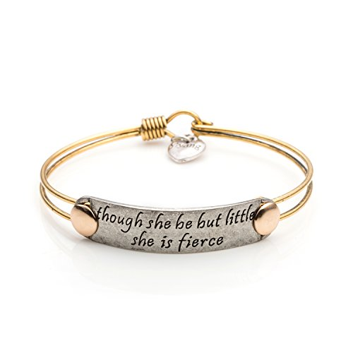 UNQJRY Yiyang Bangle Bracelets for Girls Motivational Engraved Brass Wire Jewellery Though She Be But Littel She is -