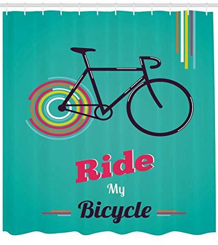 ABAKUHAUS Vintage Cortina de Baño, Montar mi Bicicleta Tema Cartel Estilo Retro Bicicleta Hipster, Material Resistente al Agua Durable Estampa ...