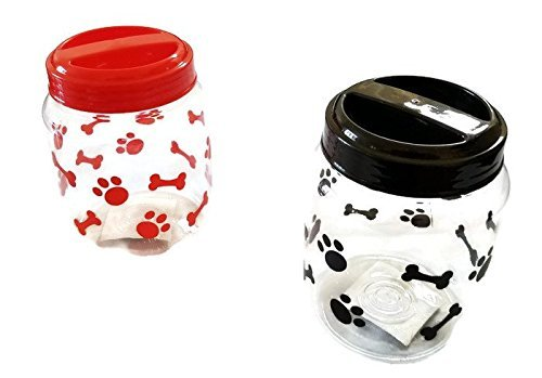 Print Dog Clipart (Cats BPA-Free Plastic Airtight Pet Treat & Food Storage Containers Canisters Black & Red Paw Print (Set of 2))