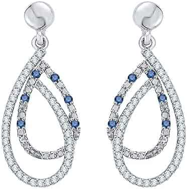 1204a4f1d Blue and White Diamond Fashion Earrings in Gold or Sterling Silver (3/8 cttw