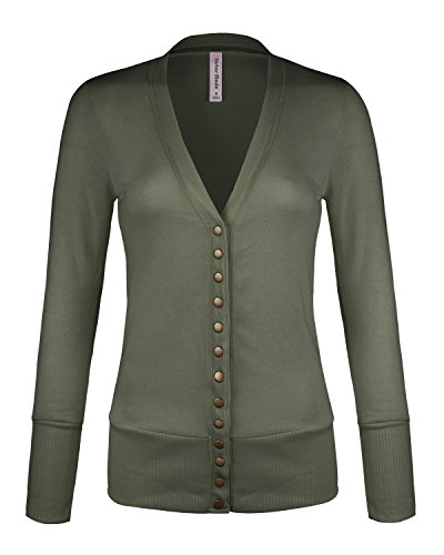 Womens Women's V-Neck Button Down Knitwear Long Sleeve Soft Basic Knit Snap Cardigan (C45611 Lt Olive, Medium) ()