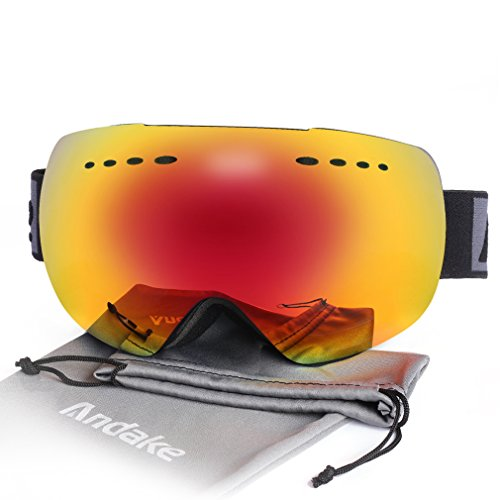 Andake Ski Goggles, Anti-fog 100% UV400 Protection Mirrored Lens Snowboard Snow Goggles Helmet Compatible for Men Women Youth with Ventilation System/Anti-slip Strap Best for Skating - Skating Snow
