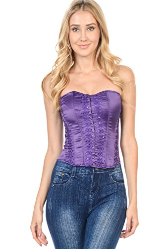 Club Wear Buster Corset With Back Of Criss Cross (Large, Purple) ()