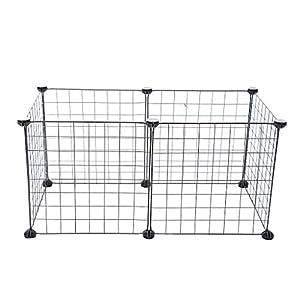 HOMYL Dog Pet Playpen Heavy Duty Metal Exercise Fence 6- Panel DIY Assemly 35x35cm (Black) Click on image for further info.