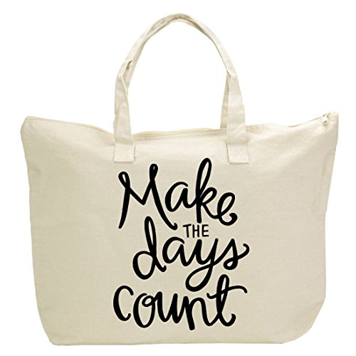 Canvas Tote Bag with Inspirational Saying- Zipper Top, Interior Pocket ''Make the Days Count'' by 30daysblog
