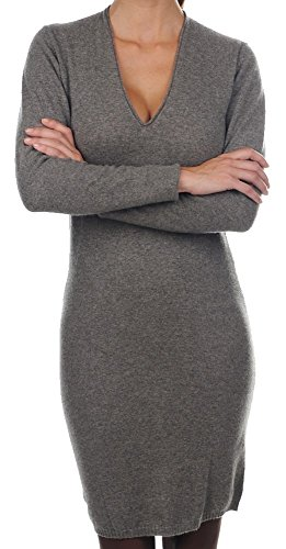 V Kaschmir Kleid Damen Cashmere 100 Ausschnitt figurbetont fädig sexy meliert XS 2 Balldiri graubraun xI4FXt
