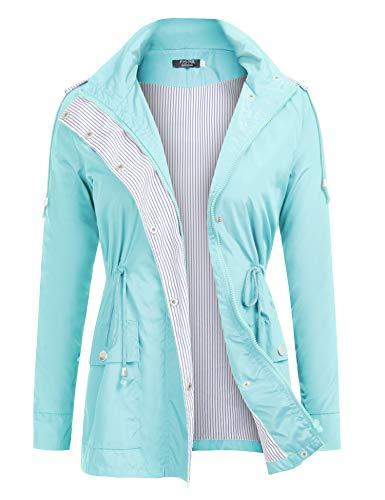 Hooded Stadium Jacket - FISOUL Raincoats Waterproof Lightweight Rain Jacket Active Outdoor Hooded Women's Trench Coats Mint Green