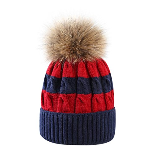 Hunputa Womens Hat Winter, Womens Striped Slouchy Winter Hats Knitted Beanie Hat Faux Fur Pom Pom Bobble Hat Ski Cap (Navy Blue)