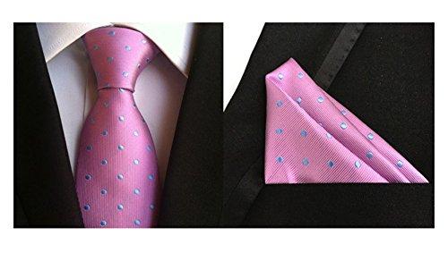 2 Piece Polka Dots Tie (MENDENG Men's Dark Pink Blue Polka Dots Silk Tie Wedding Ties Hanky 2 Pcs Sets)