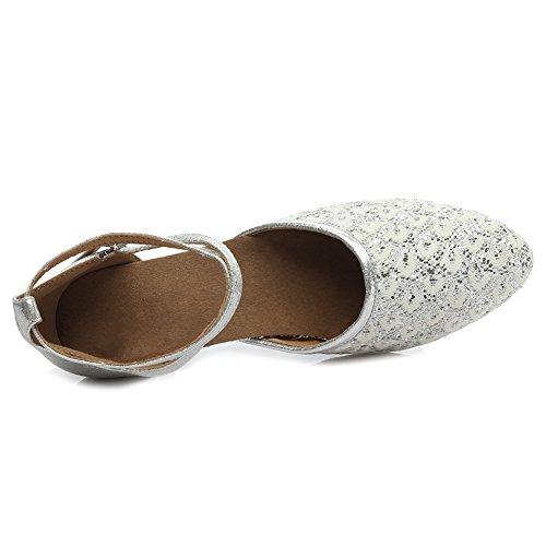 HROYL Zapatos de baile/Zapatos latinos de Leather mujeres EM5-18026 Plateado
