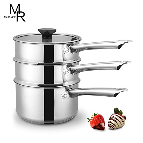 Double Boiler & Steam Pots for Melting Chocolate, Candle Making and more - Stainless Steel Steamer with Fashion Flat Glass Lid for Clear View while Cooking, Dishwasher & Oven Safe - 3 Qts & 4 Pieces