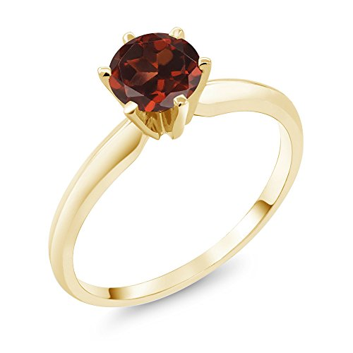 Gem Stone King 1.00 Ct Red Garnet 14K Yellow Gold Engagement Solitaire Ring (Size 9)
