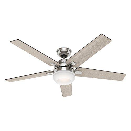 Hunter Denali 54 Brushed Nickel Shinebrite Ceiling Fan: Hunter 54″ Brushed Nickel Contemporary Ceiling Fan With