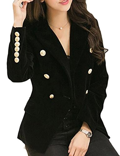 Womens Velvet Blazer (Alion Women's Sexy Long Sleeve Velvet Slim Button Suit Blazers Black S)