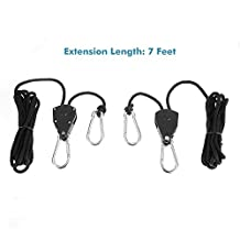 """Xcellent Global Pair of 1/8"""" Adjustable Heavy Duty, Light Fixture Rope RatchetHanger,7-Feet Nylon Ropes, Metal Hook and Inner Gear (Black)LD106 (pack of two)"""