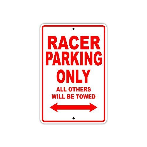 Nascar Sign Parking (Wall Art Decor Sign Racer Car Nascar Parking Only Gift Decor Metal Tin Plaque Post Bedroom Sign)