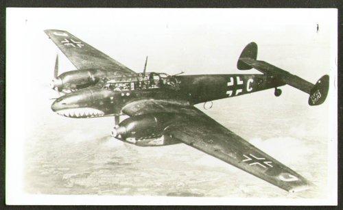 - German Messerschmitt Me 110 in flight photo 1940s