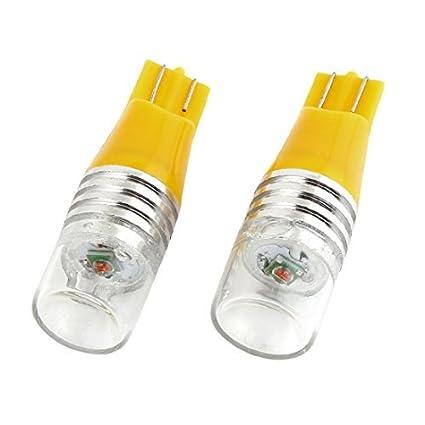 Amazon.com: eDealMax 2 piezas del coche LED Amarillo T10 cola trasera Bombilla de luz del lámpara de señal 5W: Automotive