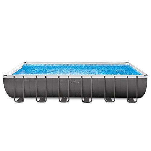 Intex 24ft X 12ft X 52in Ultra Frame Rectangular Pool Set with Sand Filter Pump & Saltwater System, Ladder, Ground Cloth, Pool Cover, Deluxe Maintenance Kit & Volleyball Set