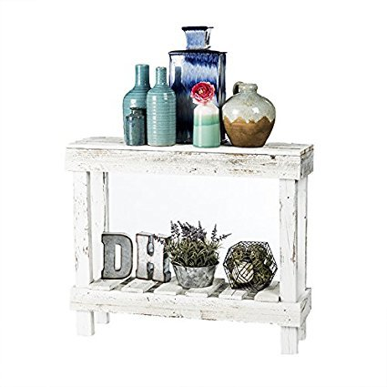 Del Hutson Designs- Rustic Barnwood Sofa Table, USA Handmade Reclaimed Wood (White)