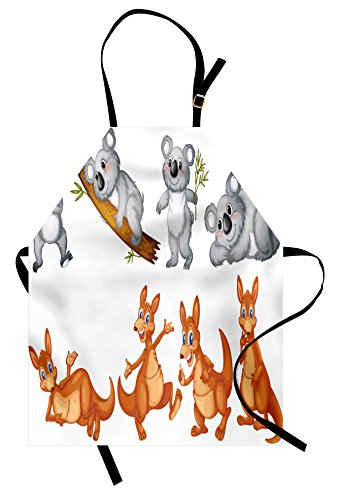 Ambesonne Tropical Animals Apron, Australian Baby Kangaroos and Koala Bears in Different Positions Art Print, Unisex Kitchen Bib Apron with Adjustable Neck for Cooking Baking Gardening, Grey (Australian Themed Costumes Ideas)