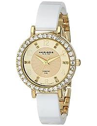Akribos XXIV Women's AK758YGW Diamond and Crystal-Accented Watch with White Ceramic Bangle