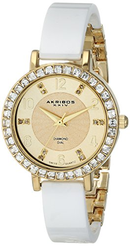 Akribos XXIV Women's AK758YGW Diamond and Crystal-Accented Watch with White Ceramic Bangle
