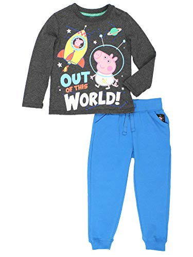 Peppa Pig George Toddler Boys 2 Piece Long Sleeve T-Shirt and Jogger Pants Set (3T, Grey/Blue)]()