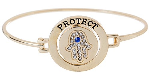 - Artisan Owl Crystal Hamsa Hand 'Protect Me' Spinning Center Bangle Bracelet