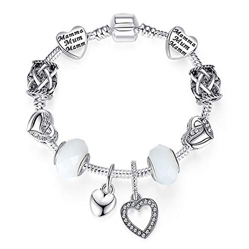 Bracelet 925 Unique Silver Crystal Charm Bracelet for Women DIY Beads Bracelets & Bangles Jewelry Gift,PS3864,18cm
