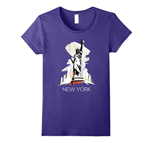 Womens NYC Love New York State Flag Statue Of Liberty T-shirt  Large Purple (Lady Liberty Flag)