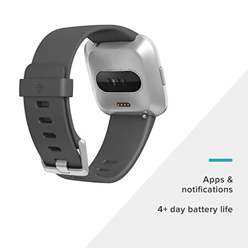 Fitbit Versa Lite Smartwatch, Charcoal/Silver Aluminum, One Size (S & L Bands Included) by Fitbit (Image #1)