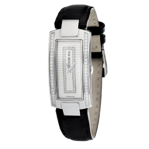 Raymond Weil Women's 1500-ST1-42381 Shine Diamond Accented Black Leather Watch - Ivory Textured Dial
