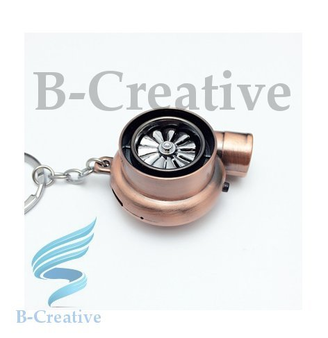 B-Creative UK Premium Quality LED Turbo Supercharger Turbine Rechargeable USB Electronic Cigarette Lighter Keyring KeyChain 2017 (Copper): Toys & Games