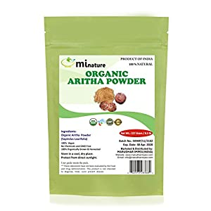 mi nature USDA CERTIFIED Organic Aritha Powder/Soap nut Powder(Sapindus Laurifolia)FOR SILKY HAIRS - (227g / (1/2 lb) USDA NOP Certified 100% Organic | Excellent Hair Conditioner