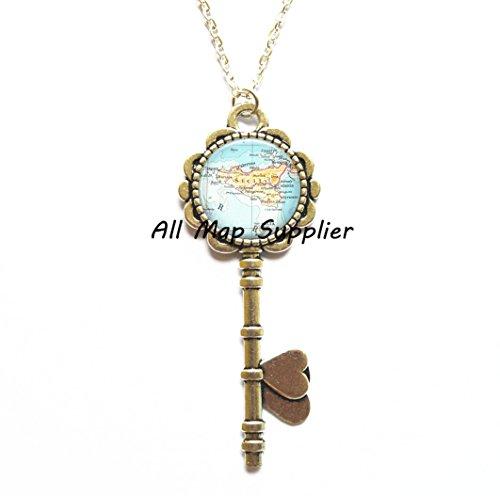 (Charming Key Necklace,Sicily map Key Pendant, Sicily Key Pendant Sicily map Key Necklace Sicily Key Necklace map jewelry,A0277)