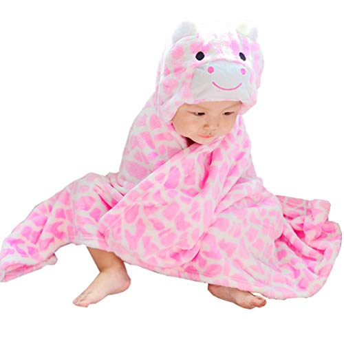 FeelMeStyle Baby Hooded Blanket Animal Fleece Bathrobe for Unisex Baby ()