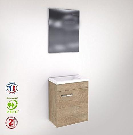 Liineo Meuble Wc Lave Main Faible Profondeur Chene Naturel Avec Miroir Amazon Fr Cuisine Maison