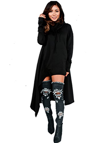 Xuan2Xuan3 Womens Kangaroo Pockets Loose Hoodies Sweatshirts Outerwear Coat Dress, Black, XXX-Large -
